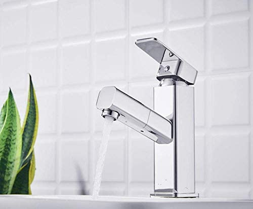 ZY-YY バスルームシンクは、単穴流域ミキサーバルブ蛇口洗面台スロット付き浴室の洗面台のシンクホットコールドタップミキサー流域の真鍮のシンクの銅伸縮プルアウト流域の蛇口スクエアホットとコールドタップ