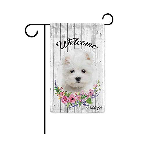 BAGEYOU Welcome Spring Summer Flowers Cute Dog Maltese Decorative Garden Flag Lovely Puppy Floral Seasonal Home Decor Banner for Ourside 12.5X18 Inch Print Double Sided