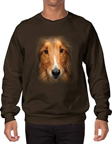 Tcombo Shetland Sheepdog Face Adult Crewneck Sweatshirt (Brown, XX-Large)