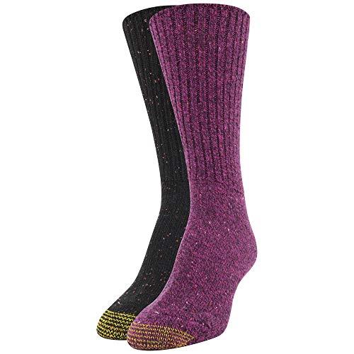 Gold Toe Women's Crossroads Boot Crew Socks, 2 Pairs, Berry, Black/Pink, Shoe Size: 6-9