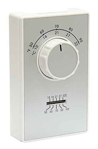 TPI Corporation ET9STS, Single Pole Wall Mounted Line Voltage Thermostat, Heating Only, 50-90 Degree Temp Range, Thermometer on Face Plate, White w/Silver Face (Temp Range)