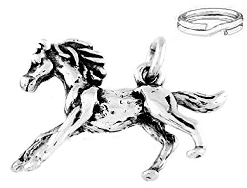 Sterling Silver Galloping Baby Horse Pony Charm with ONE Split Ring Charms,Pendant and Bracelet by Easy to be happy