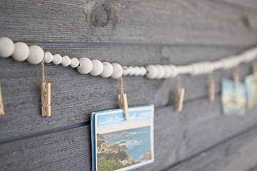 Kalalou Wood Bead Garland with Clothes Pin Photo/Card Holders One Size - Wood Large Bead 1
