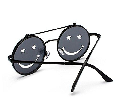 polarisé Punk Rond Rétro Non Cadre Gris Smiley Vintage de Noir et Femmes Flip Hippie Hommes Style lunettes UV400 Hellomiko Soleil gAOqwq