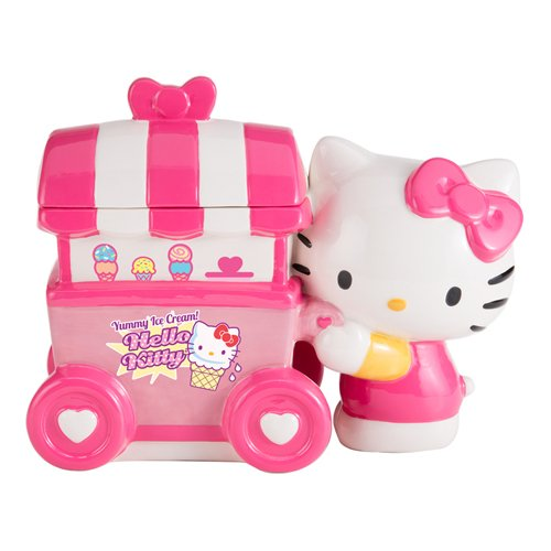 Vandor Hello Kitty Ice Cream Cart Ceramic Cookie Jar (18241) - Ceramic Cart
