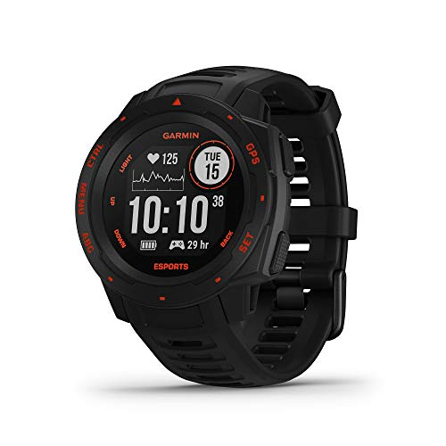 Garmin Instinct Esports Edition, GPS Gaming Smartwatch with Esports Activity Profile, Broadcast Your Stress Level and Heart Rate to Game Streams via Str3AMUP!, Black Lava, 010-02064-73