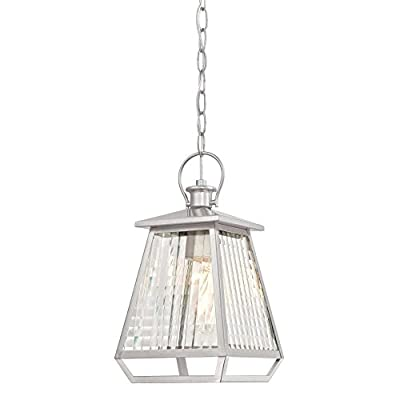 Westinghouse Aurelie One-Light, Nickel Luster Finish with Clear Waffle Glass Outdoor