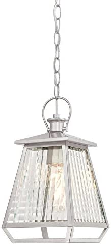 Westinghouse Lighting 6357600 Aurelie One-Light, Nickel Luster Finish with Clear Waffle Glass Outdoor Pendant