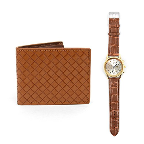 White Face Wrist Watch & Bifold Leather Wallet Set ()