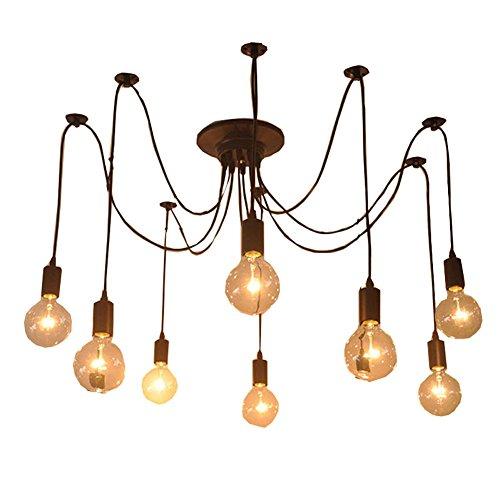 Cozyle Luz de techo colgante retro Lámpara de araña 1-9 Bombillas Heads 8 Jefes