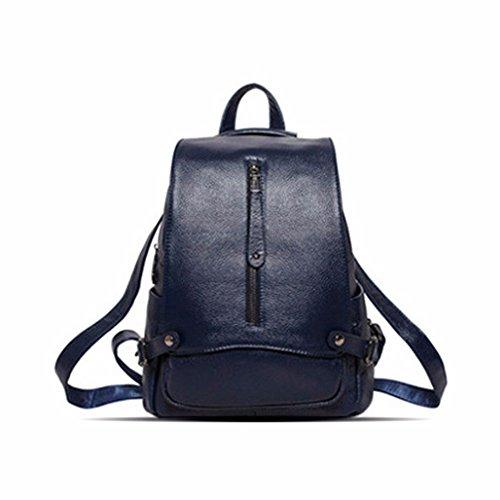 Doble bolsa de hombro de cuero anti-robo de la moda bolso de hombro doble cowhide simple paquete, 26*13*30cm, PO azul PO azul