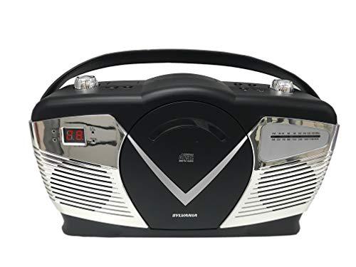 Sylvania Portable CD Boombox with AM/FM Radio, Retro Style, Black