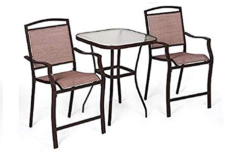 Mainstays Sand Dune 3-Piece Outdoor High Bistro Set, Seats 2