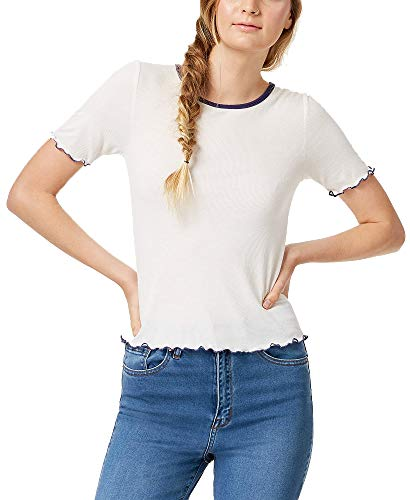 Almost Famous Juniors' Colorblocked Lettuce-Edge T-Shirt (Cream, L)