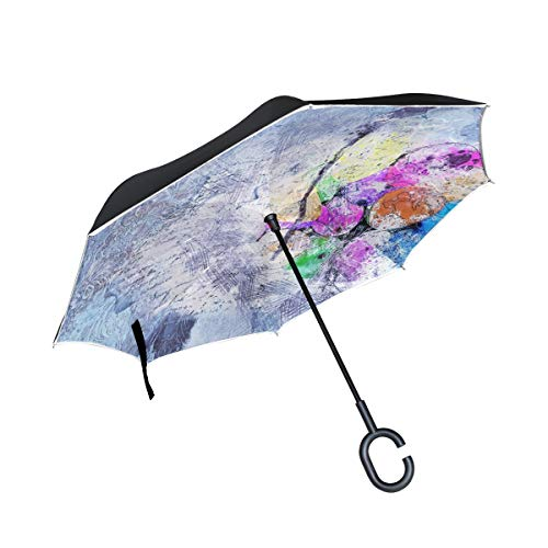 Double Layer Inverted Balloons Art Abstract Watercolor Vintage Nature Umbrellas Reverse Folding Umbrella Windproof Uv Protection Big Straight Umbrella For Car Rain Outdoor With C Shaped Handle