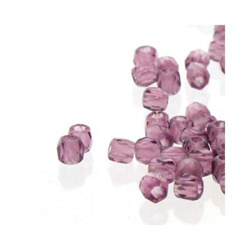Amethyst Firepolish Round Beads - True2 Czech Glass Fire Polished Beads,True 2mm, Faceted Round, 600 Pieces, Lt Amethyst Purple