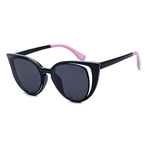 de Marco para Retro de Ojo Diseño las gato para mujeres las UV400 Flash gafas señoras sol de 80s gafas Negro sol Lens hueco Estilo vintage 4vv7A