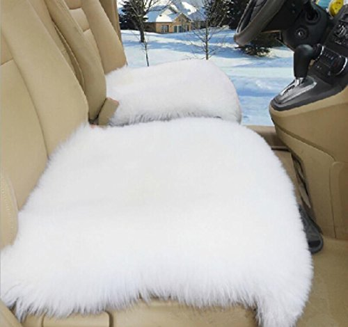 OKAYDA Square Natural Sheepskin Seat Cushion Cover 1 Pc Universal Fit Fur Cushion for Car, Chair and Armchair White