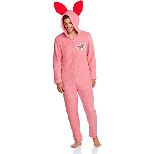 [A Story Men's Pink Bunny Union Suit Pajama (Medium)] (Pink Man Suit)
