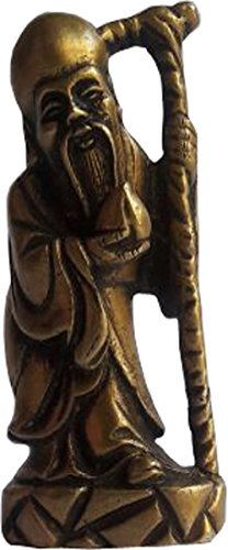 Decoration Gifts Brass Indian Gifts ethnic Prosperity old man monk statue with golden finish (Old - Village Liberty Stores