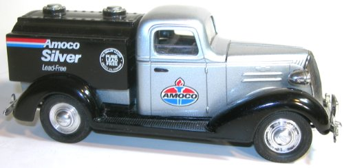 Collectible Liberty Classics Amoco Silver 1937 Chevy Tanker Locking Coin Bank