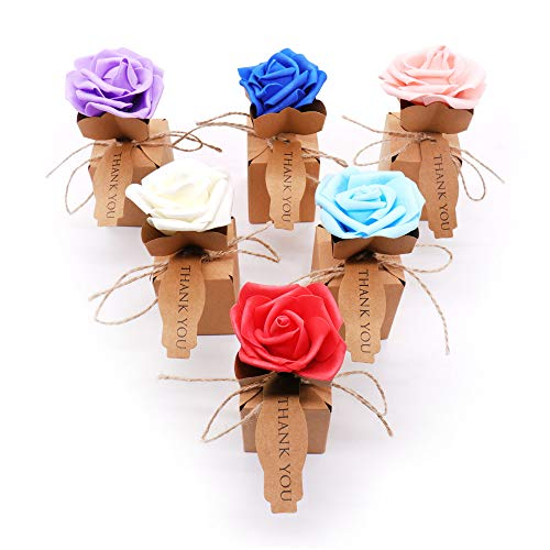 Xiaogongju 10Pcs Creative Kraft DIY Vintage Paper Candy Boxes Gift Bag with Rose Flower Chocolate Packaging Party Wedding Decoration Favors Ran Color ()