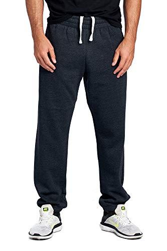 ProGo Men's Closed Bottom Casual Regular Fit Fleece Sweatpants with Elastic Waist (Charcoal Grey, Medium) (Grey Yoga Marled Pants)