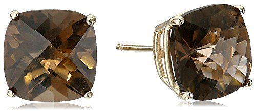 - 14k Yellow Gold Cushion-Cut Checkerboard Smoky Quartz Stud Earrings (8mm)