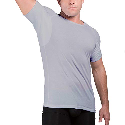 Ejis Men's Sweat Proof Undershirt, Crew Neck, Anti-Odor, Cotton, Sweat Pads (Small, Grey)