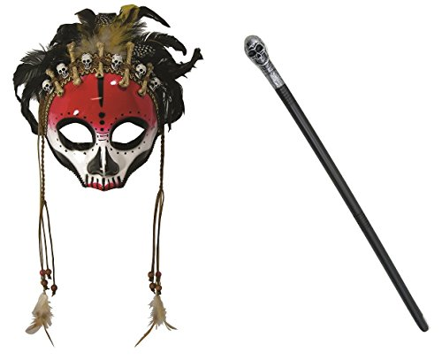 Nicky Bigs Novelties Black Magic Voodoo Face Mask Silver Skull Staff Cane Sorcerer Costume Accessory