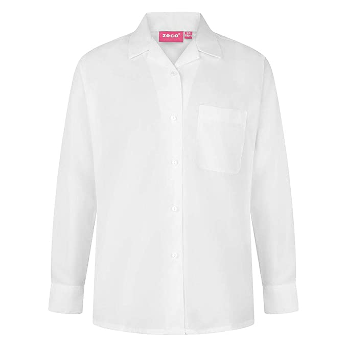 75960c9a7af61f Zeco School Uniform Girls Long Sleeve Revere Collar Blouse - Twin Pack   Amazon.co.uk  Clothing