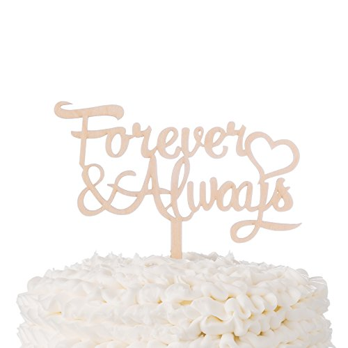 Forever & Always Wooden Wedding Cake Topper Rustic Wood Decoration Toppers (Forever & Always)