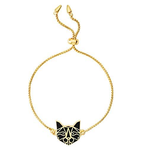 Marvel's Captain Marvel Alien Cat Yellow Gold Plated Enamel Lariat Bracelet -