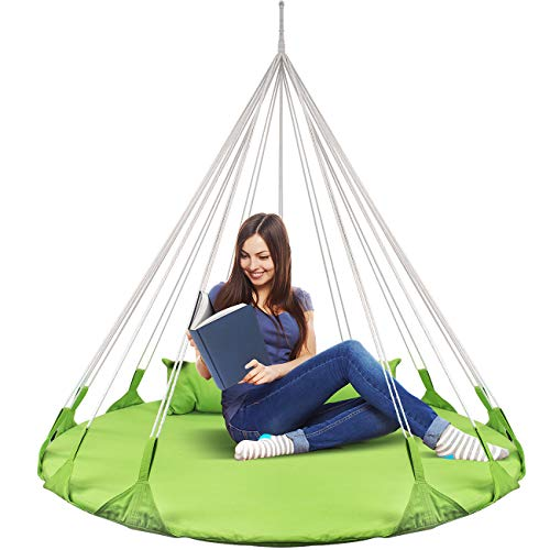 Sorbus Hanging Swing Nest Pillow, Double Hammock Daybed Saucer Style Lounger Swing, 264 Pound Capacity Indoor/Outdoor Use (Swing Nest - ()