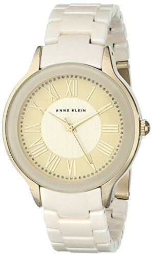 Gold Tone Ivory Dial - Anne Klein Women's AK/1948IVGB Gold-Tone and Ivory Watch with Ceramic Bracelet