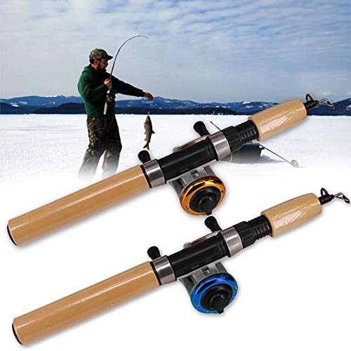 HEART SPEAKER Winter Retractable Portable Ice Fishing Pole Rod Spinning Reel Line Combo Set ()