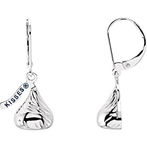 Icecarats Designer Jewelry Sterling Silver Hersheys Kisses Lever Back Earrings 13.60x12.00mm Flat Back