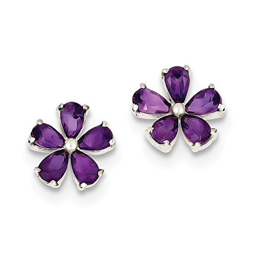 - ICE CARATS 925 Sterling Silver Purple Amethyst Floral Post Stud Ball Button Earrings Flower Gardening Fine Jewelry Ideal Gifts For Women Gift Set From Heart
