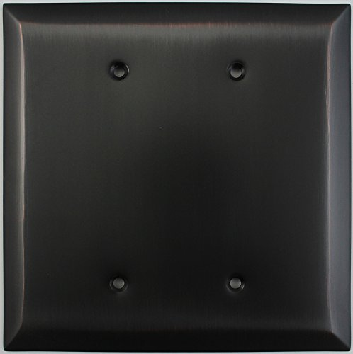 Jumbo Stamped Oil Rubbed Bronze Two Gang Blank Wall Plate (Renovation Cover Plate)