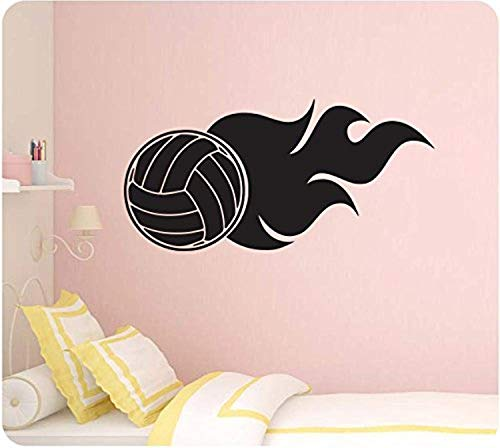 Profit Decal Art Home Volleyball Sports Silhoute Spike Flame Quote Lettering Wall Decals Decor Vinyl Sticker Q5590