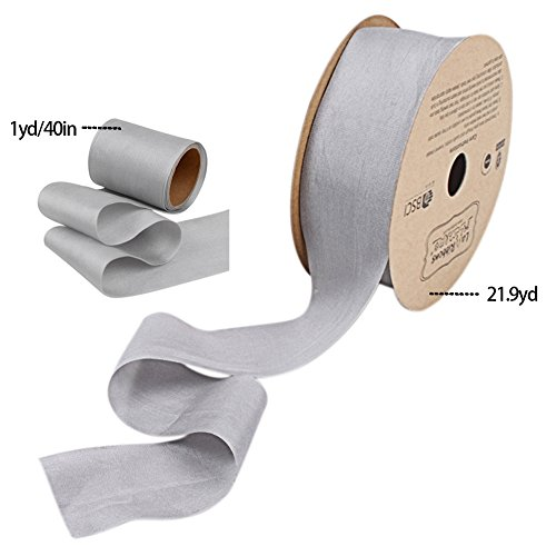 Skyflying 40in Long Silk Ribbon 1-1/2in 38mm Satin Ribbon For Shoes/Wedding card/Gift wrapping (silvery-grey)
