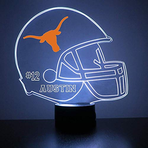 Mirror Magic Store Texas Longhorns Football Helmet LED Night Light with Free Personalization - Night Lamp - Table Lamp - Featuring Licensed Decal