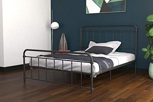 DHP Winston Metal Bed Frame, Multifunctional Piece with Adjustable Heights for Under Bed Storage, Black - Queen