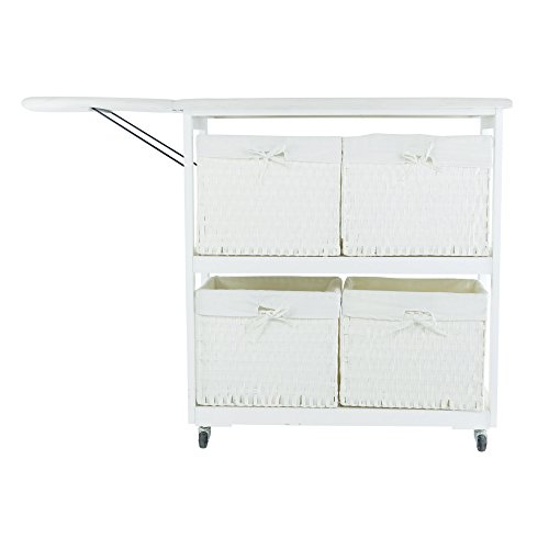 SpaceMaster™ Corner Housewares Oversized Rolling Foldable Ironing Board with Caster Wheels, 4 Woven Baskets, White by SpaceMasterTM (Image #1)