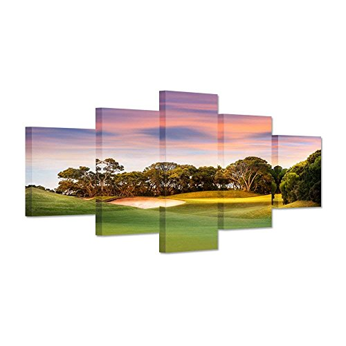 (Hello Artwork - Canvas Prints Large 5 Panel Green Grass Golf Course Field At Sunset Wall Art The Picture Landscape With No Peple Golfer Sports Lover Gift For Living Room Decor)