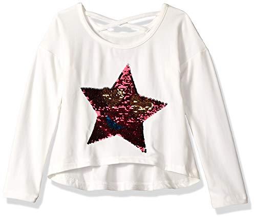 (Colette Lilly Girls' Big Long Sleeve Sequin Tee, Vanilla Sky Star, 10/12)