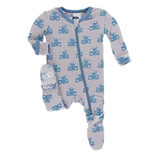 KicKee Pants Little Boys Print Footie with Zipper - Feather Mouse and Cheese, 3-6 Months