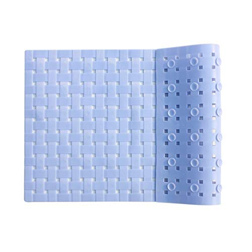 ALL PRIDE Bathtub and Shower Mat, Non Slip, Washable, Woven Design, Best Choice for Kids Bath Mat for Tub and Shower, 27 x15 Inch, Sky Blue ()