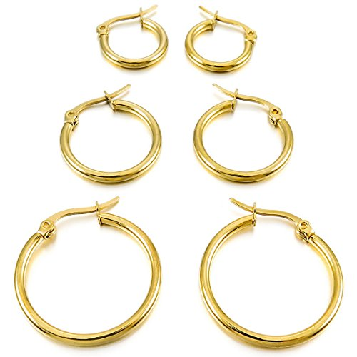 INBLUE Women's 15mm 20mm 25mm Stainless Steel Hoop huggie Earrings Gold Tone ( 3 Pairs )