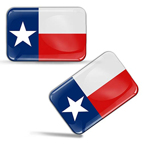 (Skino 2 x 3D Domed Silicone Texas Flag Star Car Moto Helmet Stickers Decals F 57)